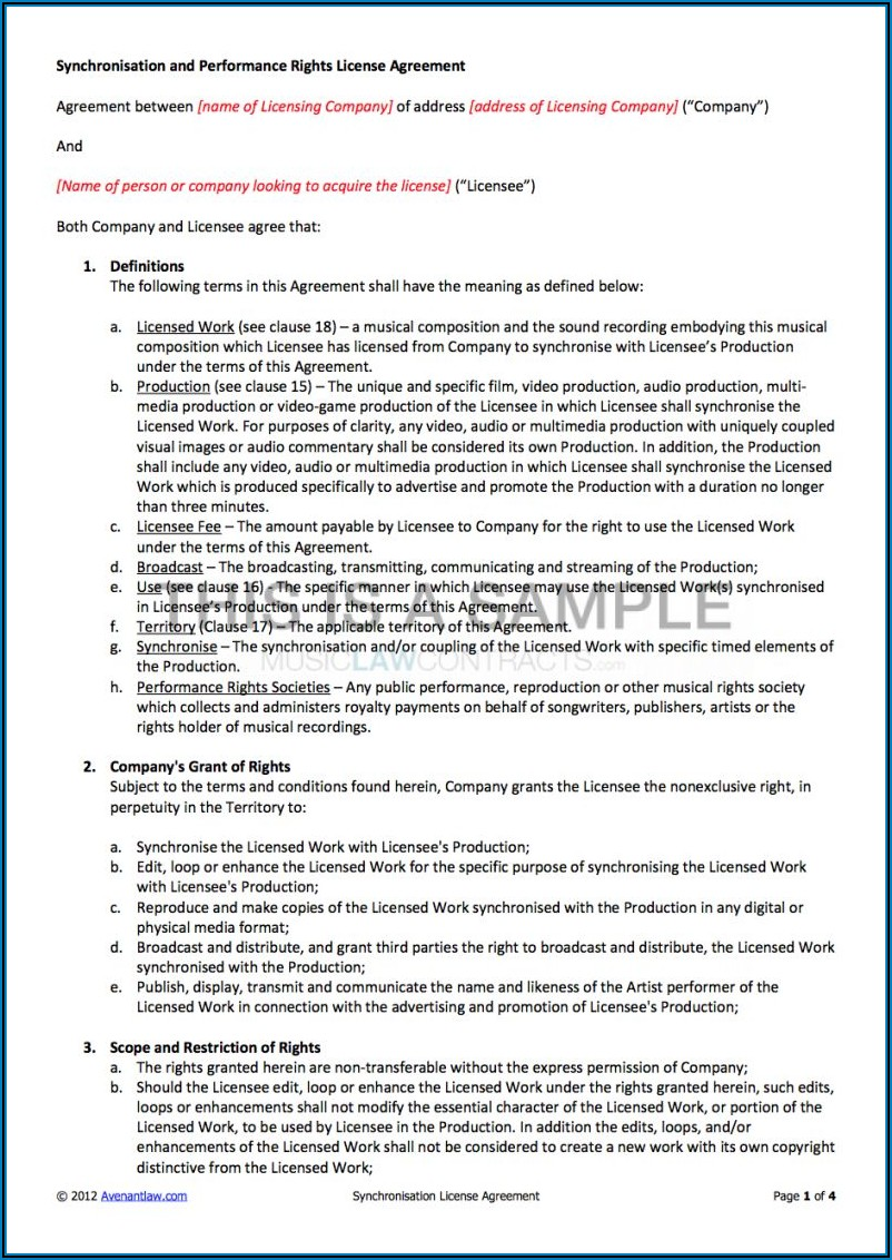 Music License Agreement Template