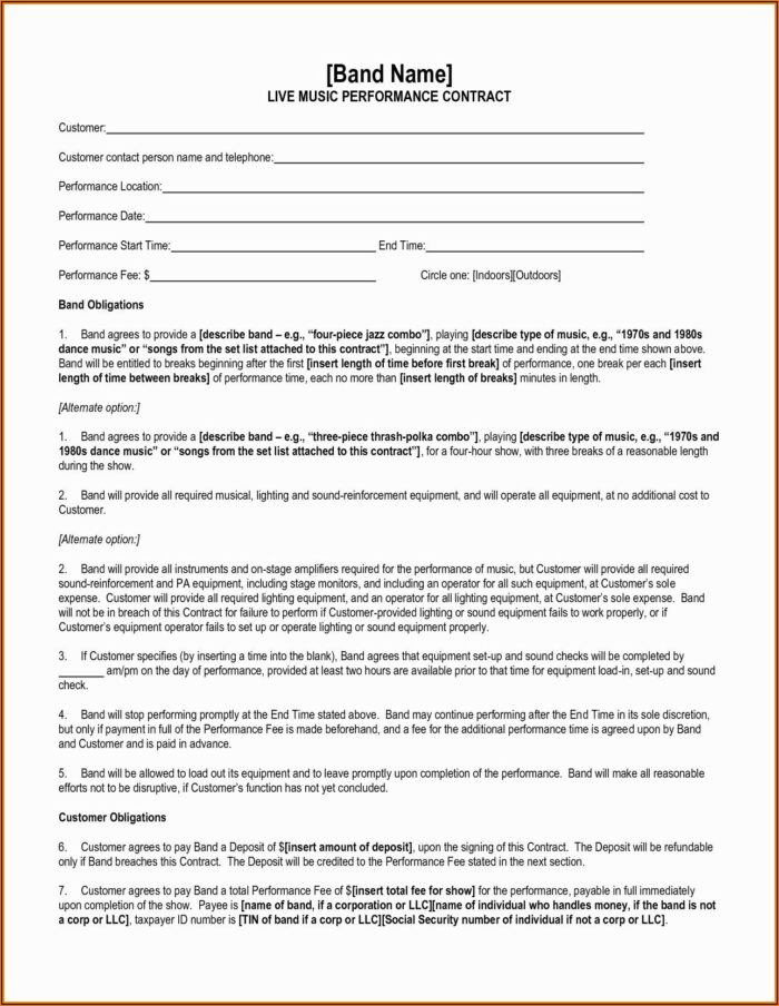 Music Performance Contract Template
