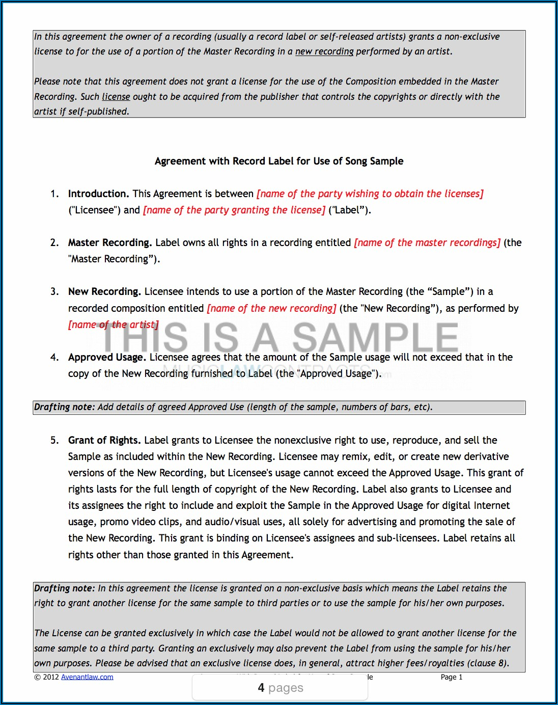 Music Sync License Agreement Template