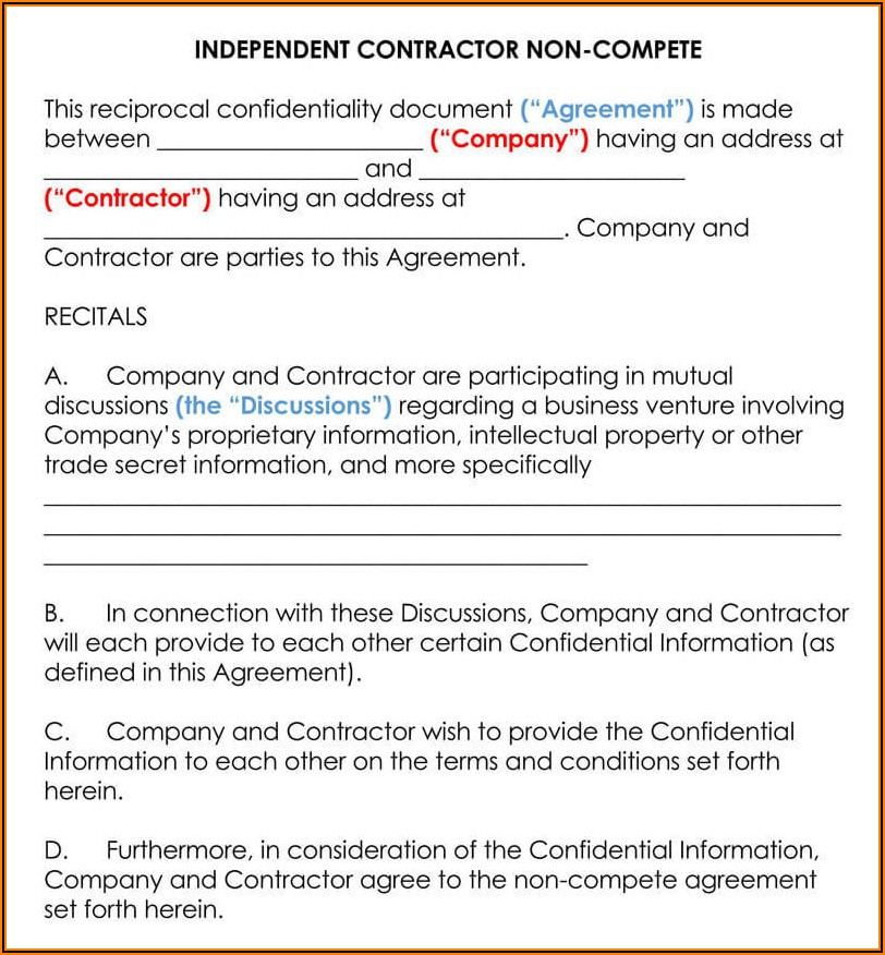 Non Competition Clause Example
