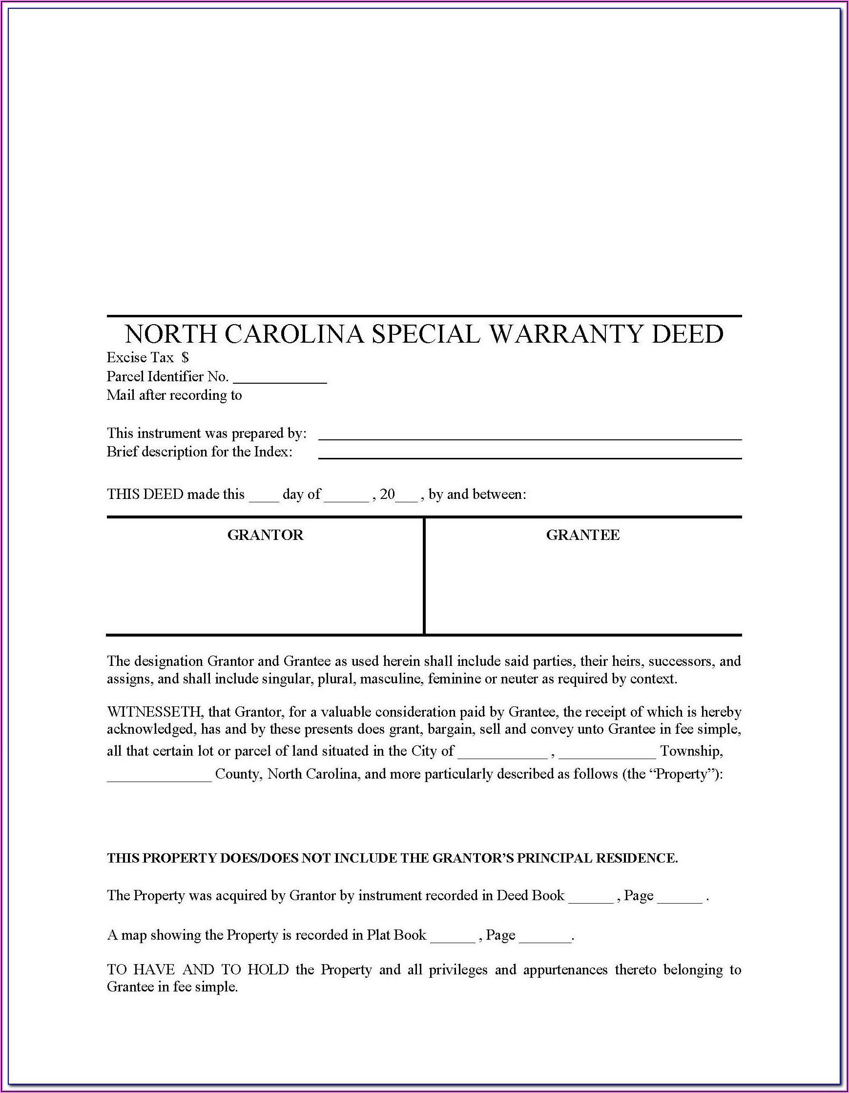 North Carolina Bar Association Special Warranty Deed Form