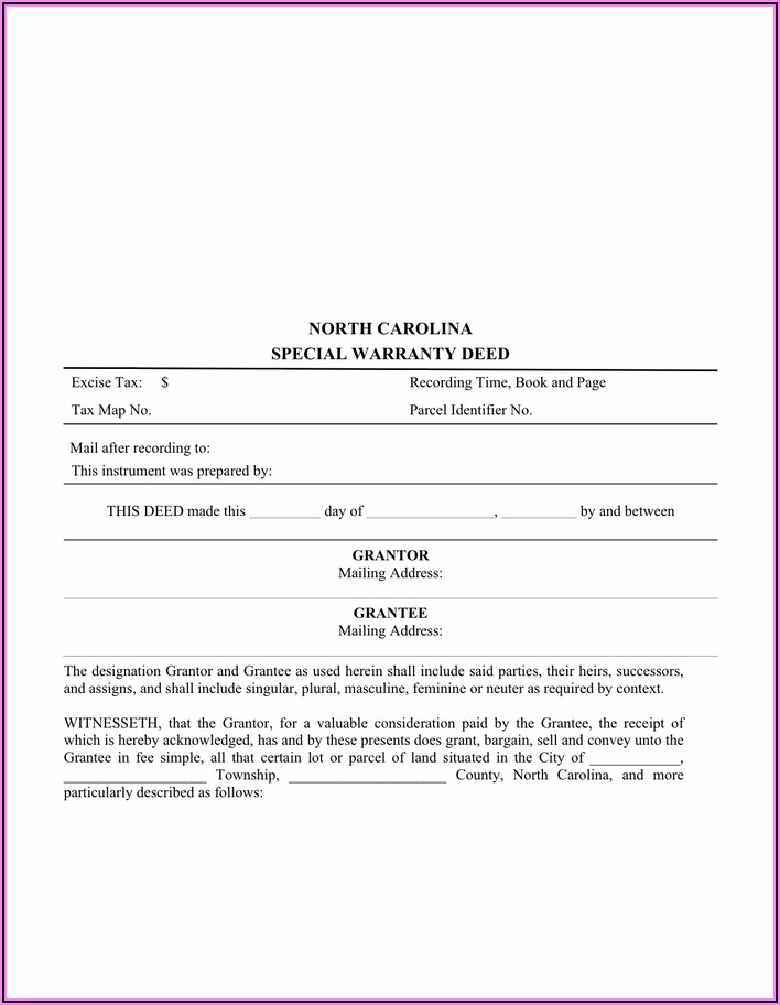 North Carolina Special Warranty Deed Form