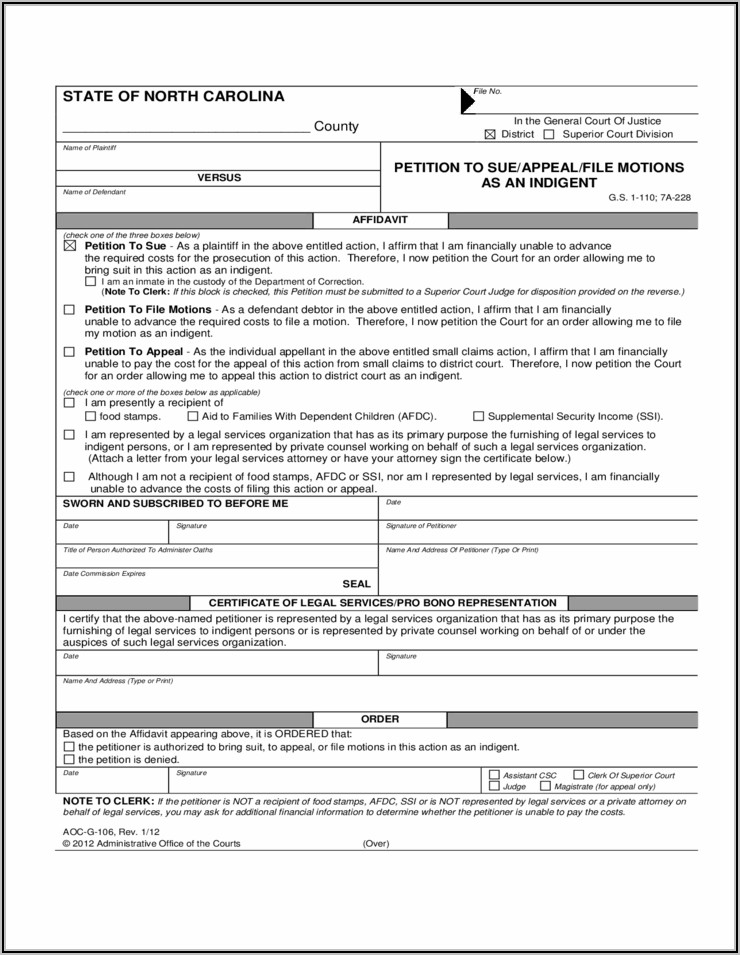 North Carolina Visitation Forms