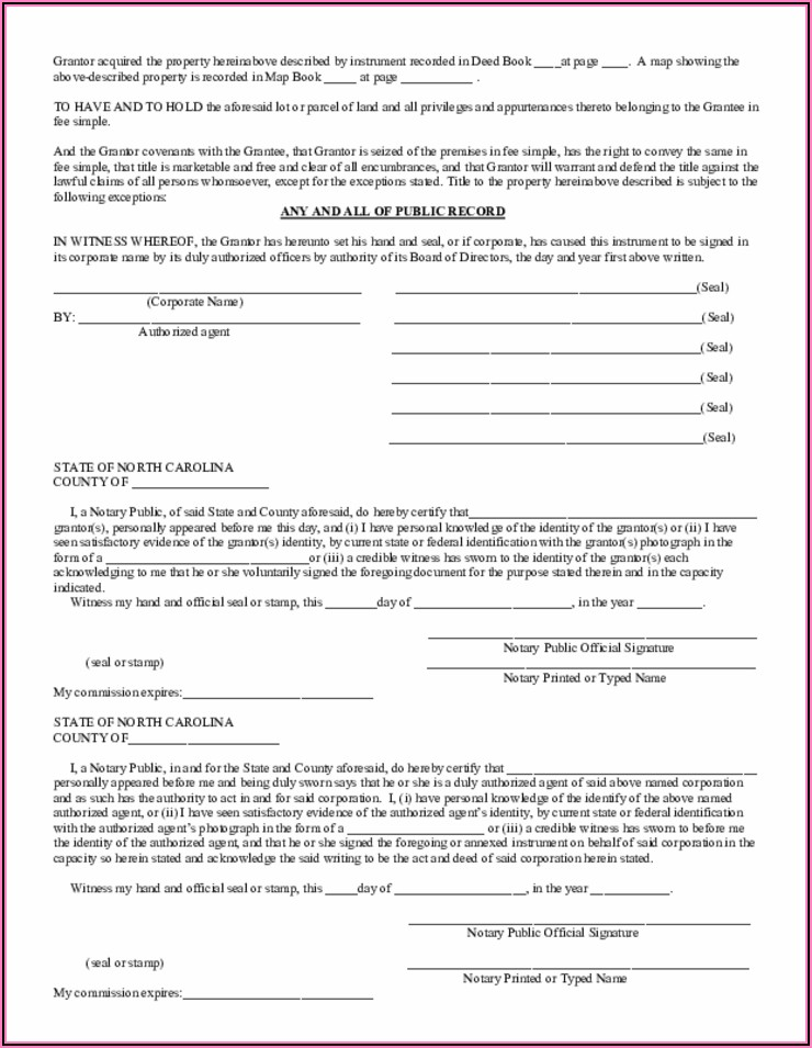 North Carolina Warranty Deed Forms Free