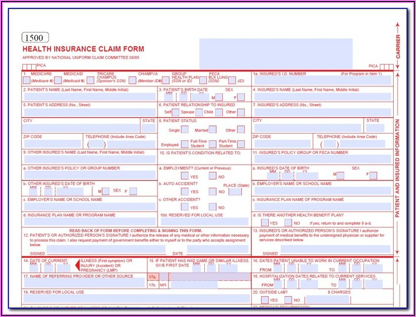 Nucc 1500 Claim Form Map