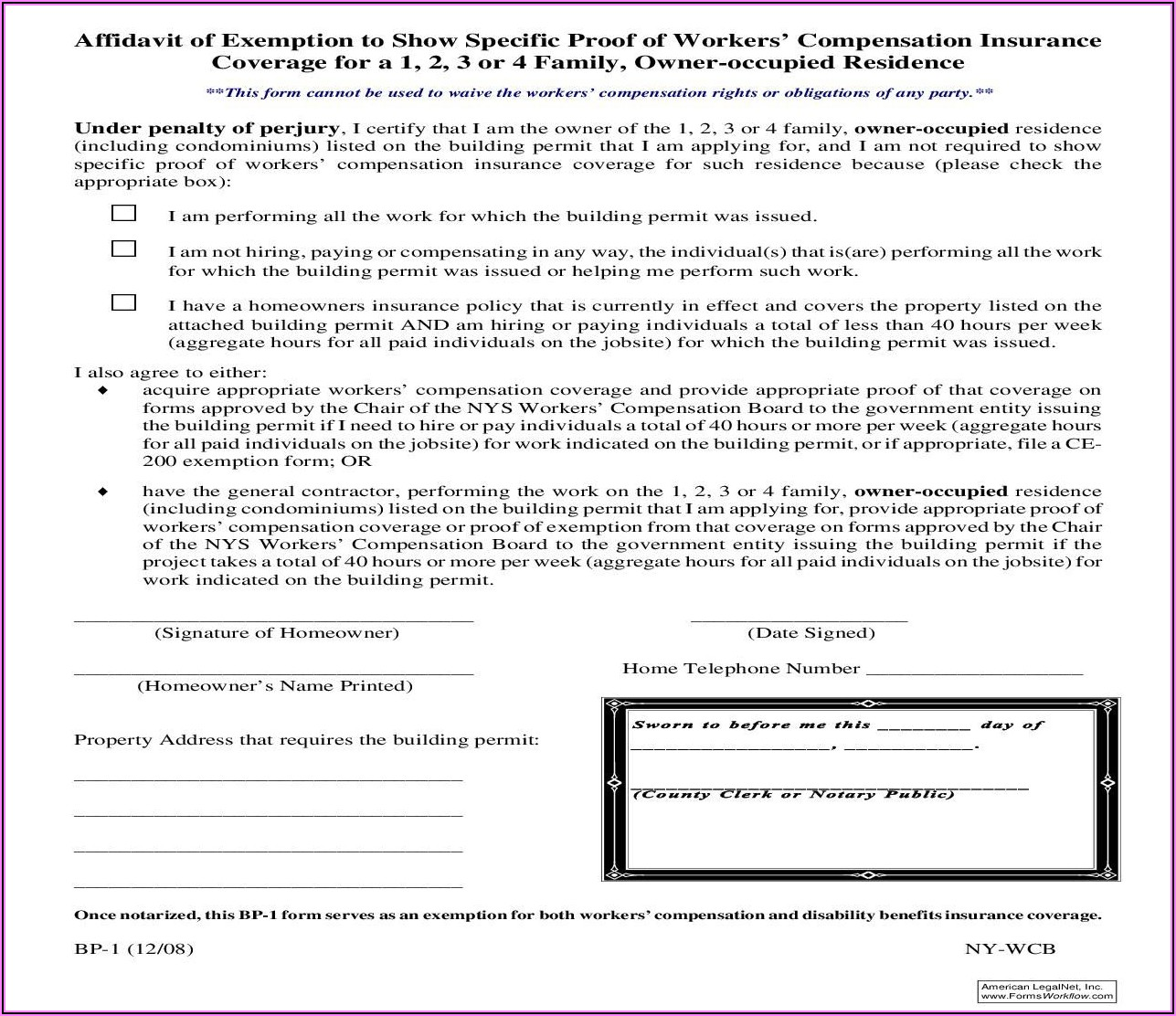 Nys Waiver Of Workers Compensation Form