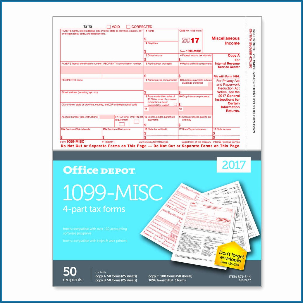 Office Depot 1099 Misc Form Template
