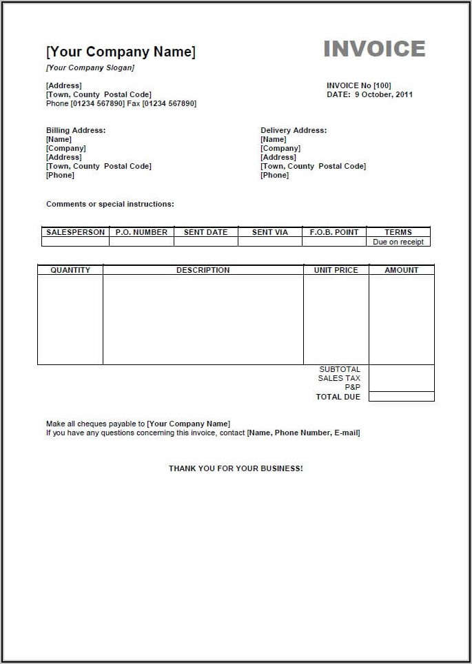 Open Office 4 Invoice Template