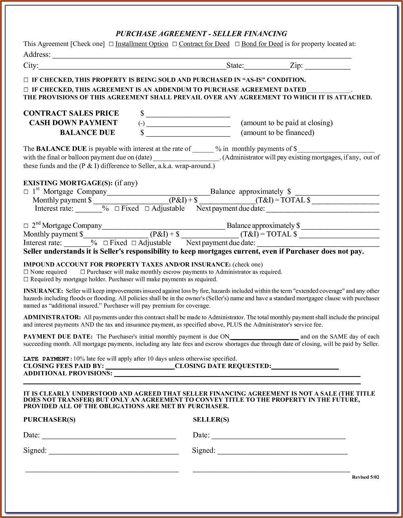 Owner Financed Business Contract Template