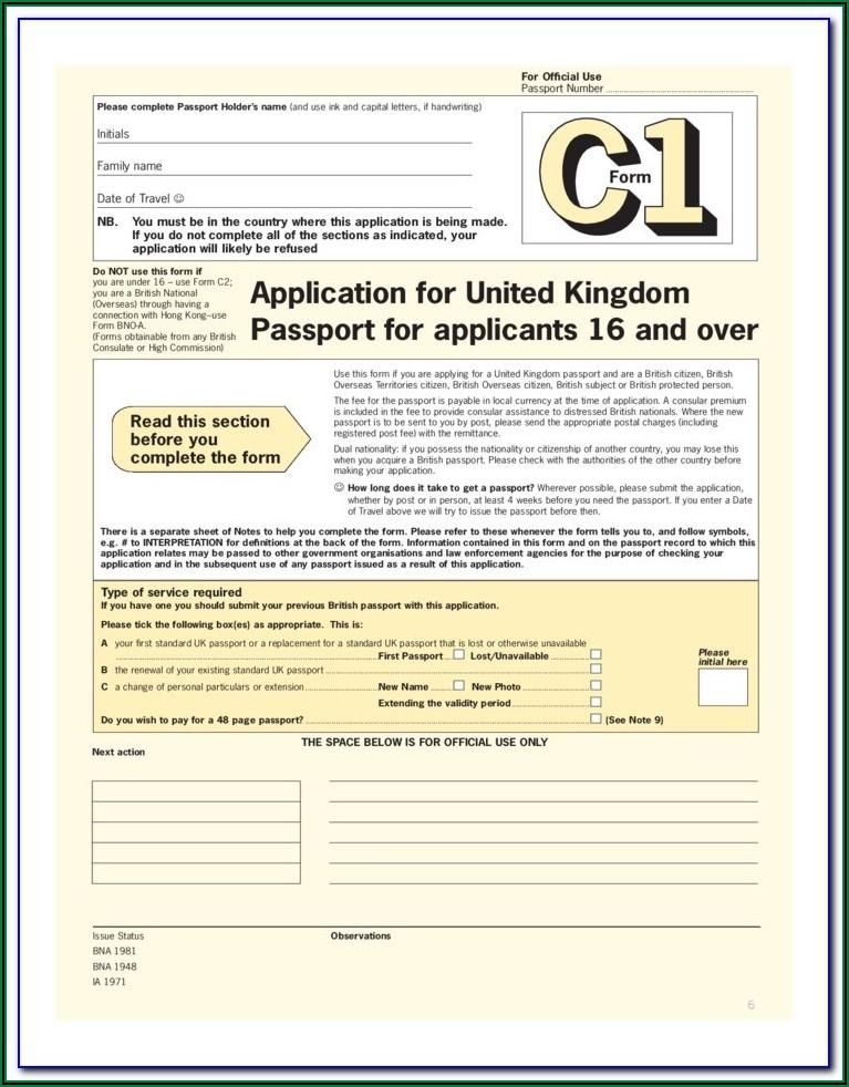 Passport Renew Application Form