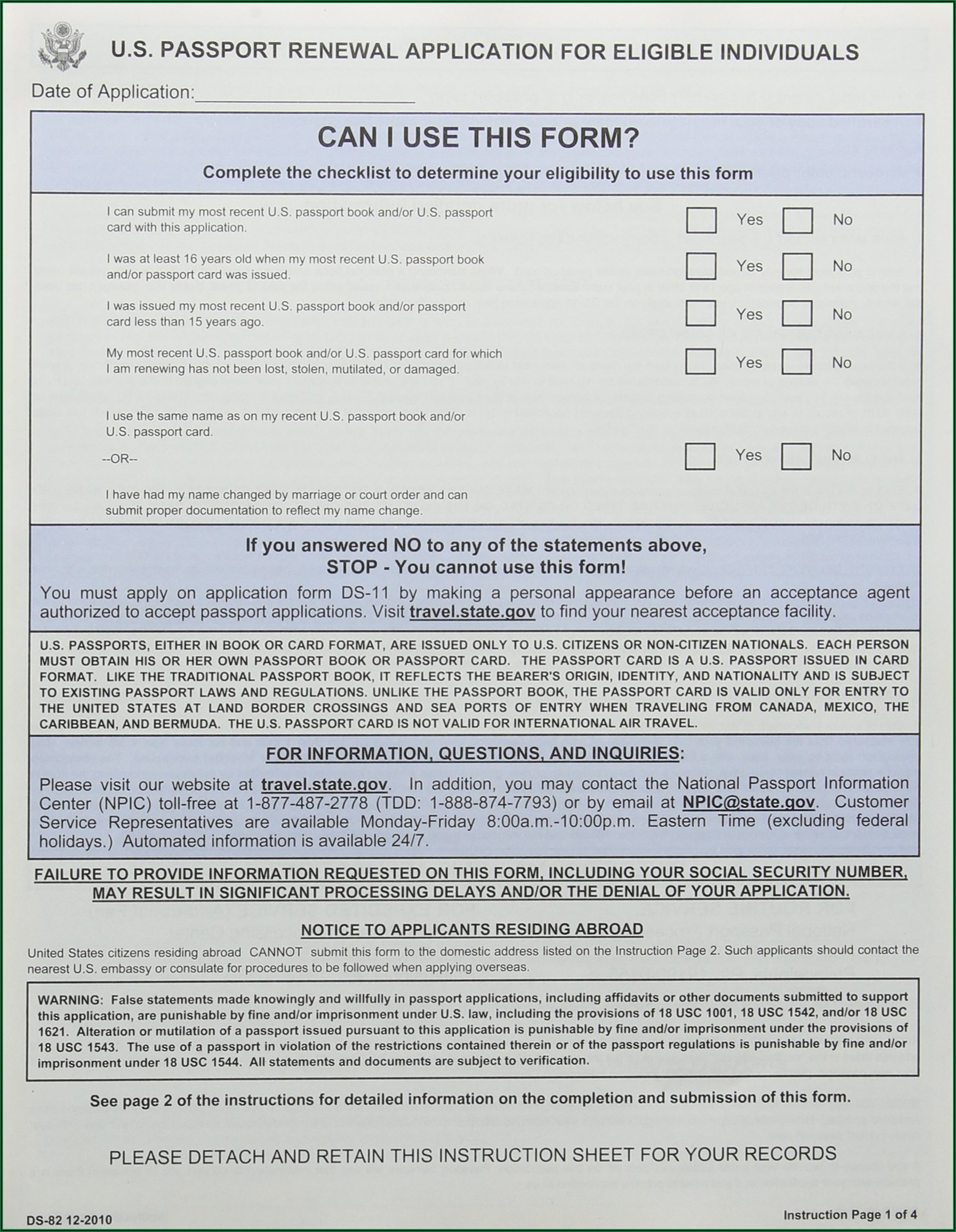 Passport Renewal Application Form Ds 82