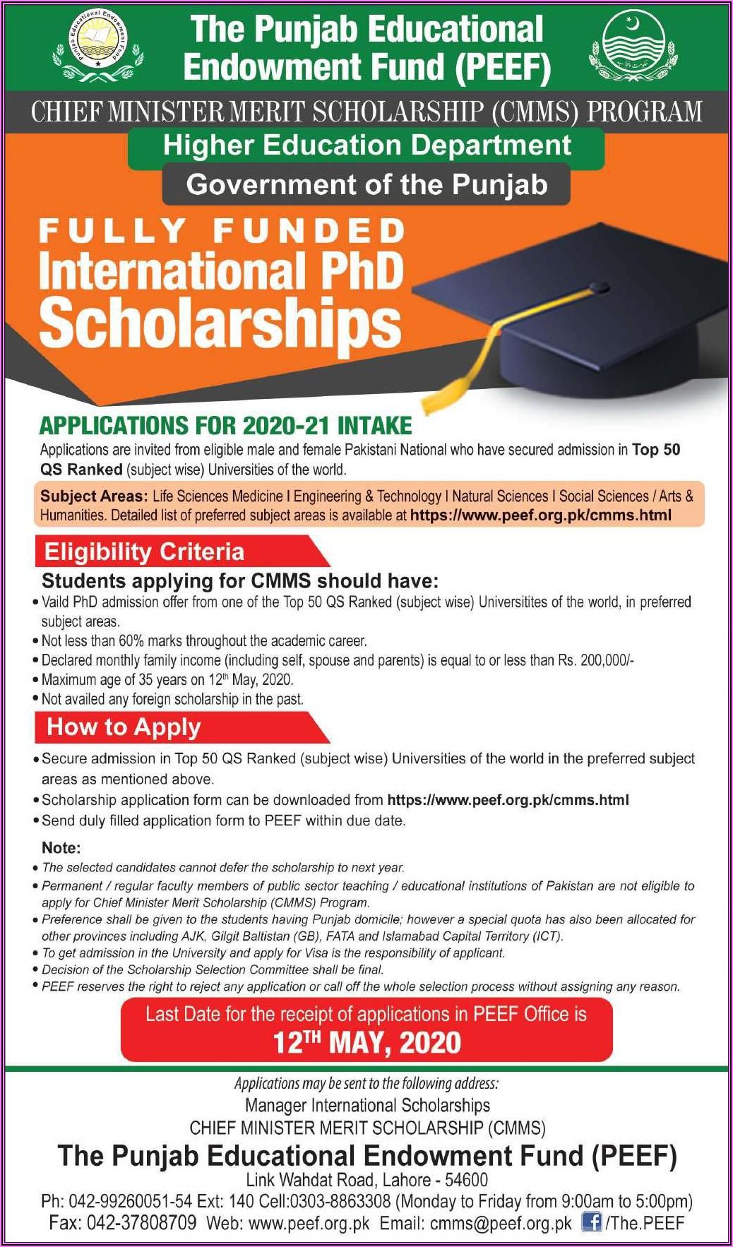 Peef Scholarship Form 2020