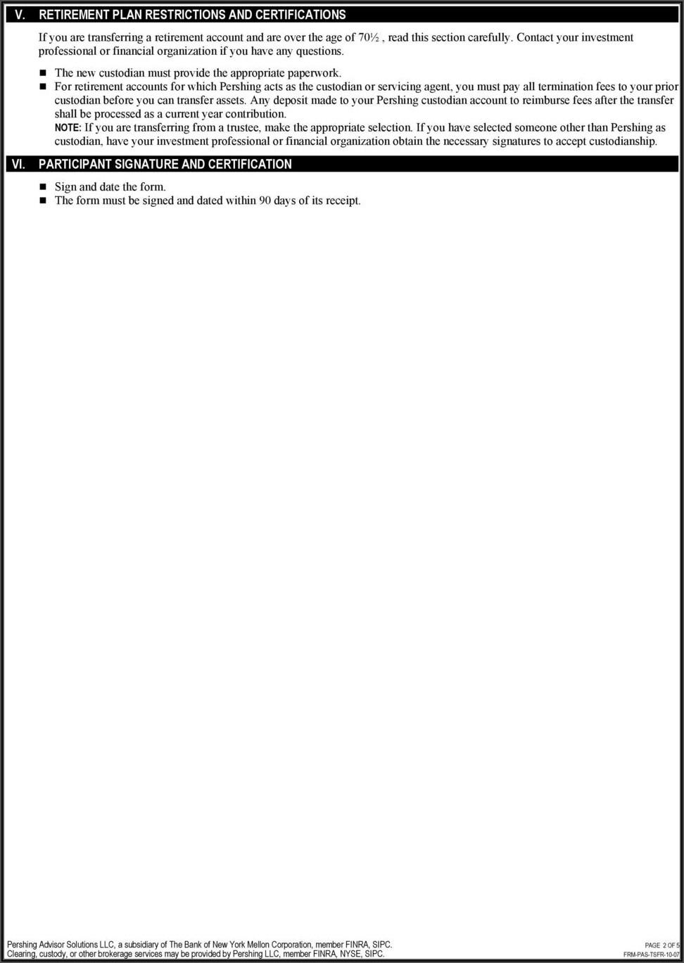 Pershing Llc Ira Distribution Form