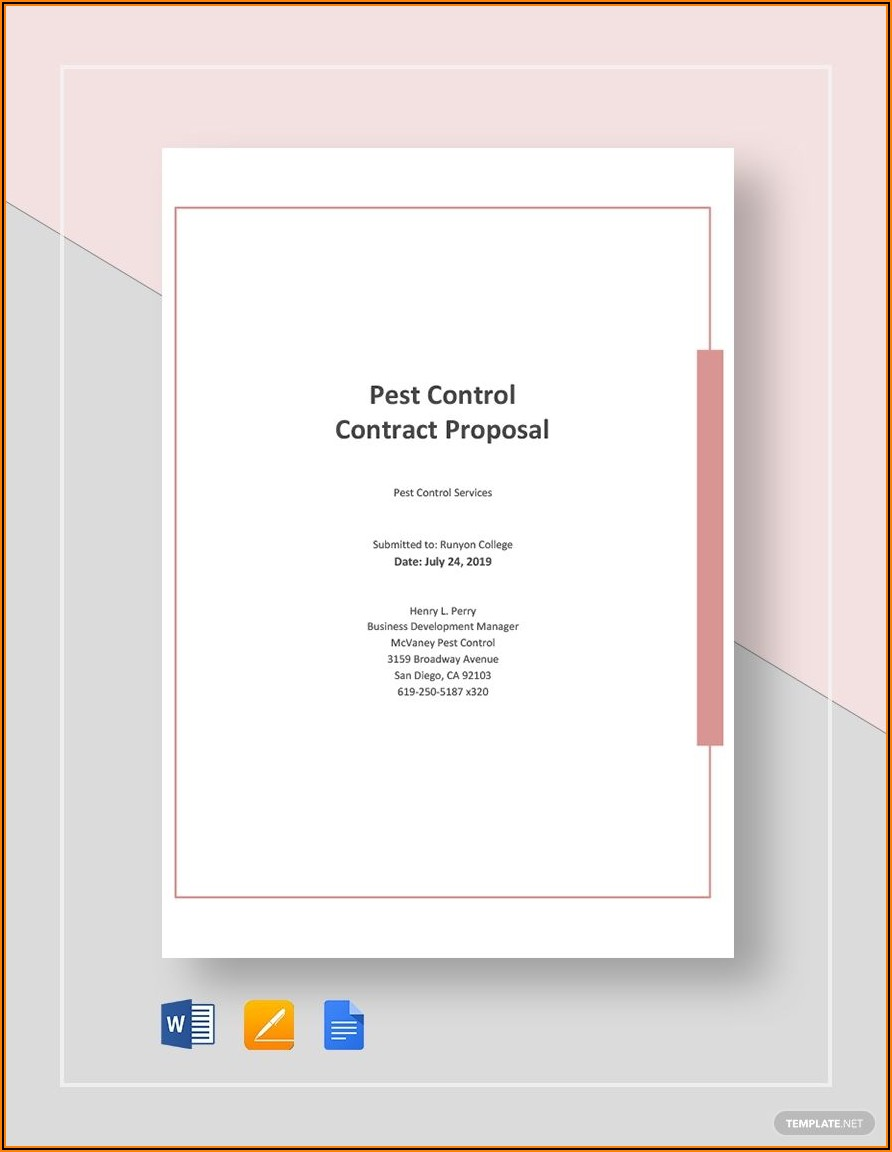 Pest Control Contract Proposal Template