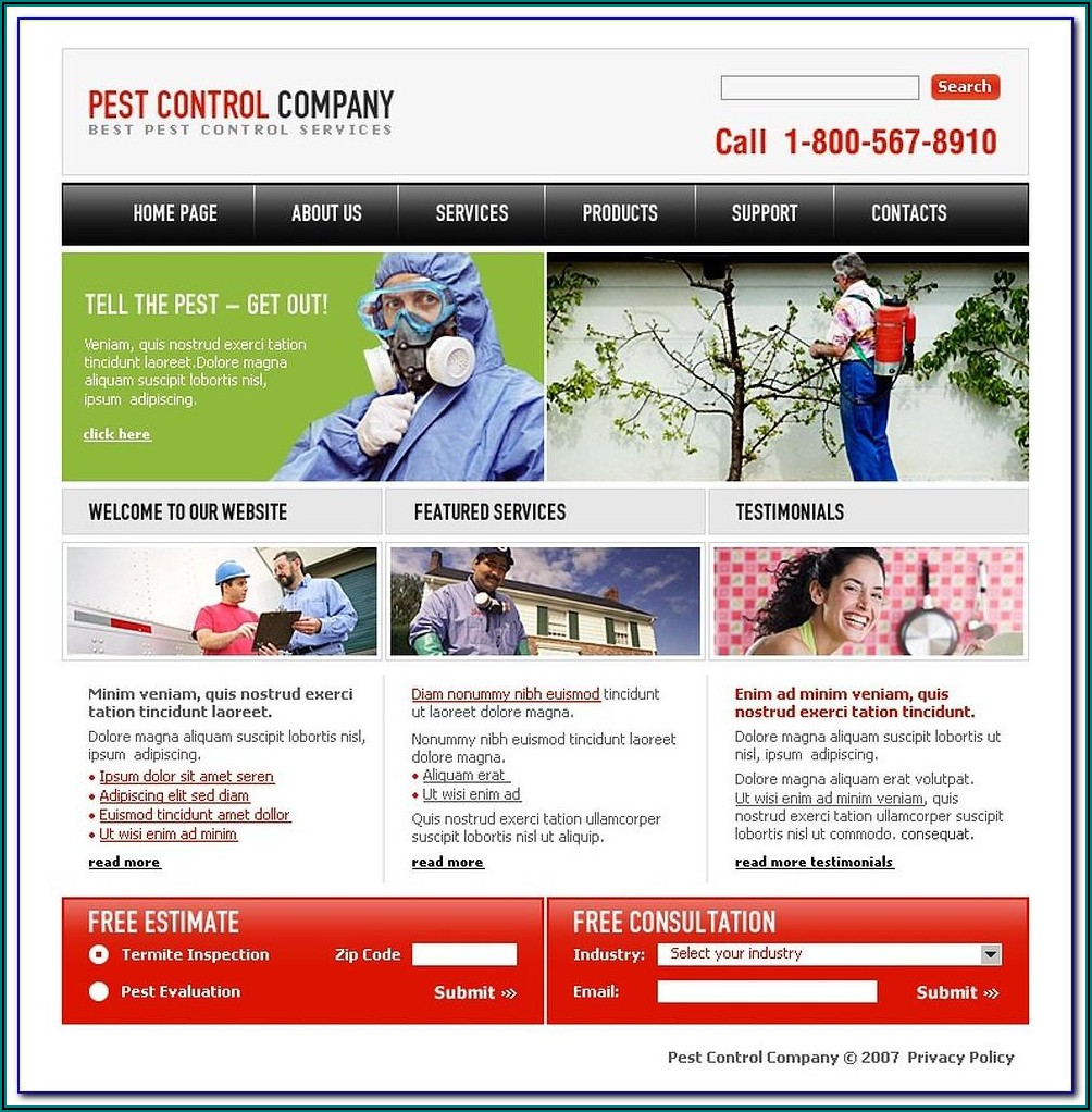 Pest Control Website Templates Free Download