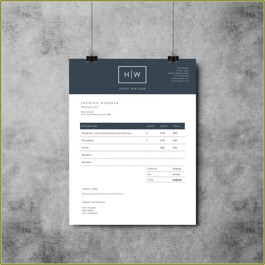 Photographer Invoice Template Word
