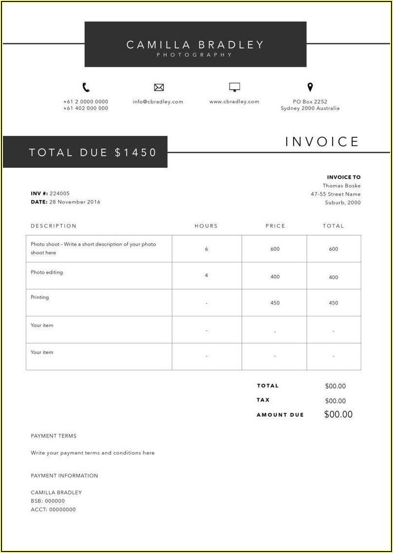 Photography Receipt Template Word