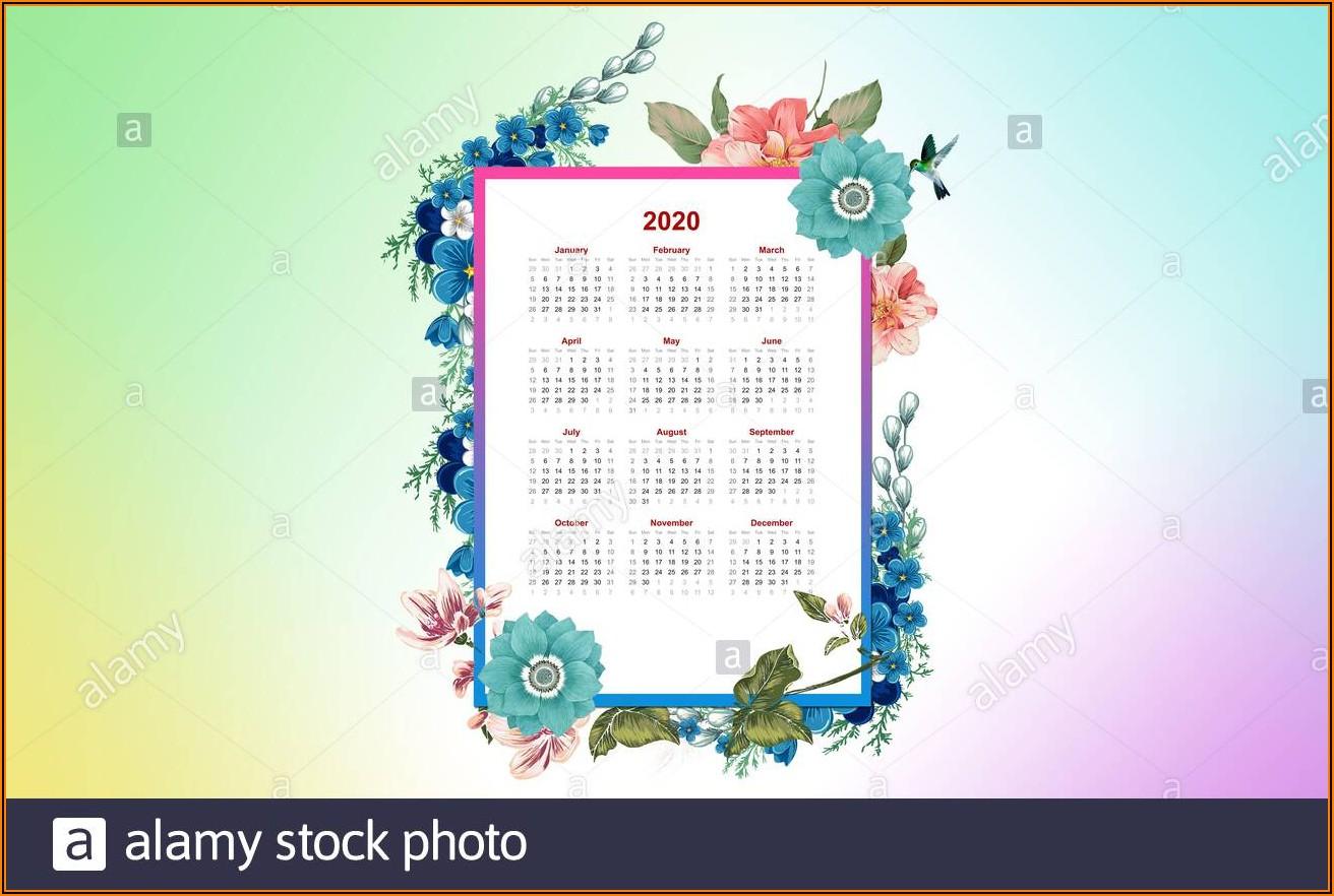 Picture Calendar Template 2020