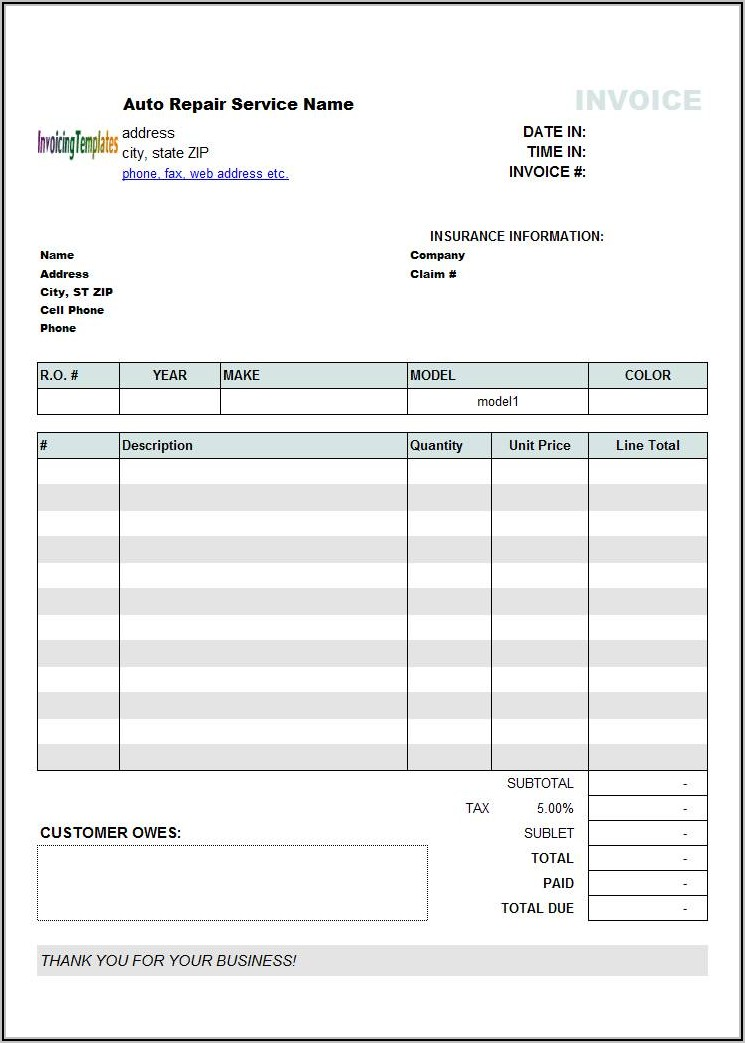 Printable Auto Body Repair Estimate Forms