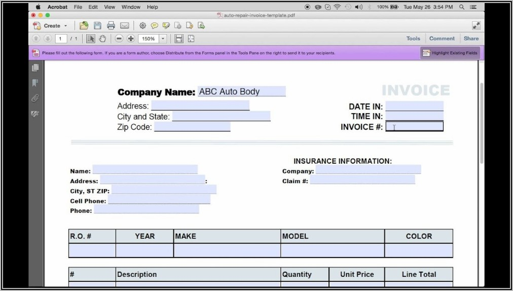 Printable Blank Auto Repair Invoice