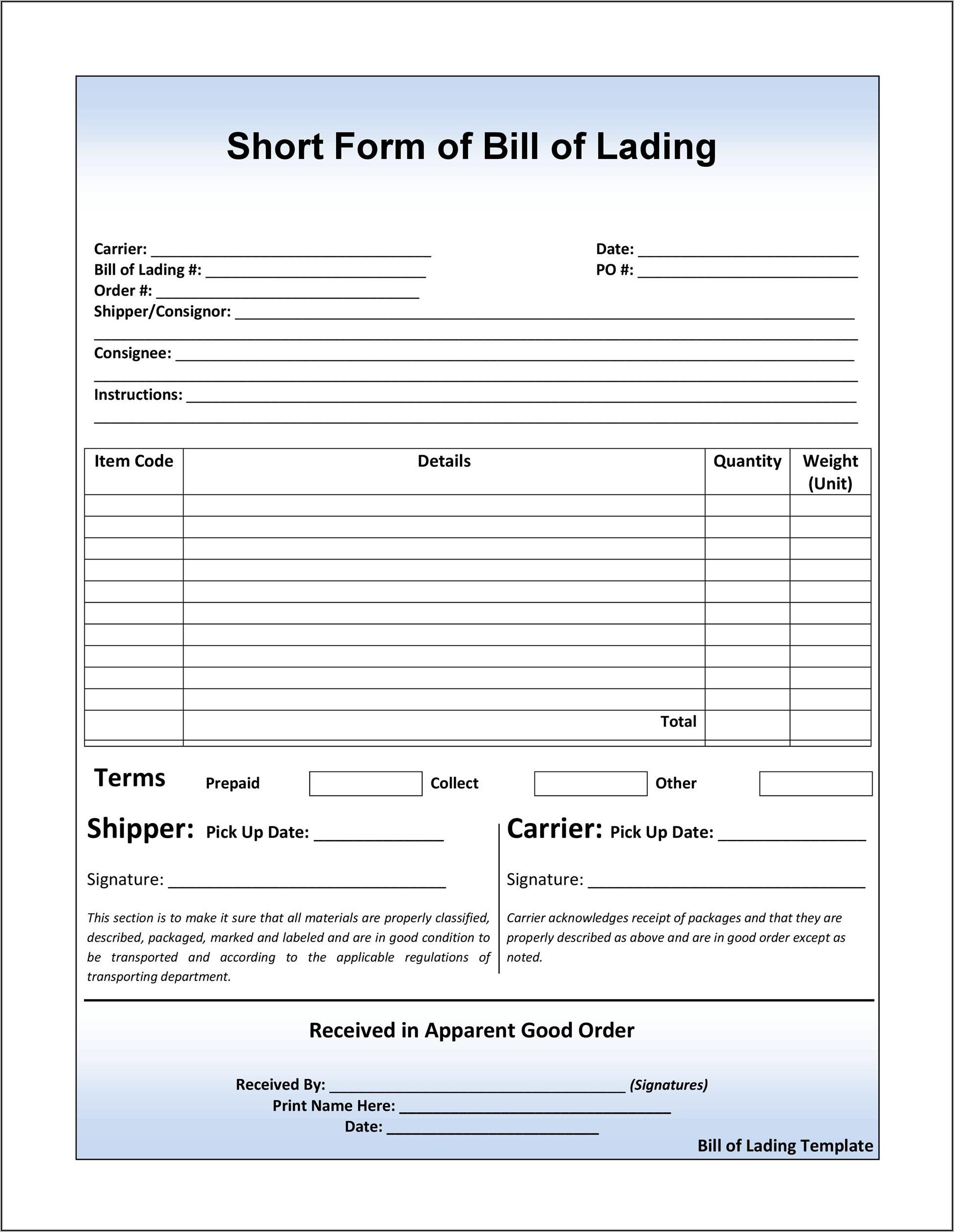 Printable Free Blank Straight Bill Of Lading Short Form Pdf