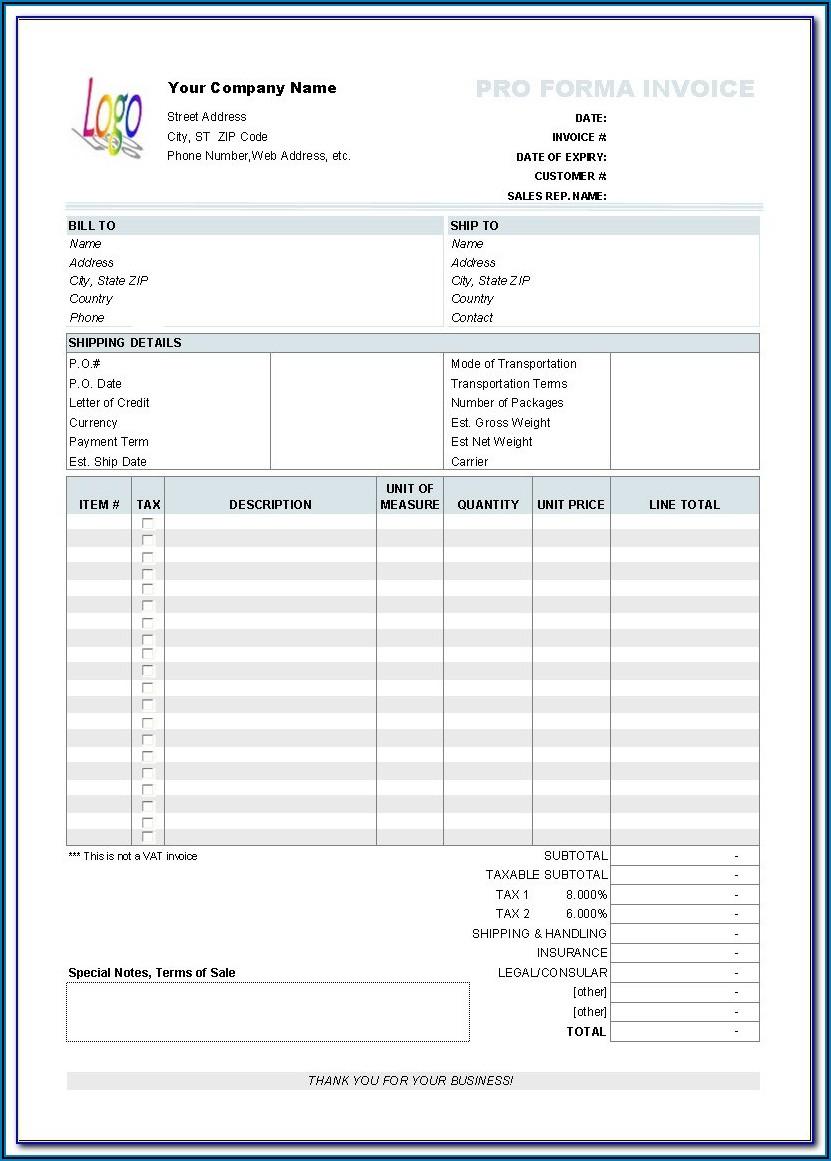 Printable Invoice Templates Free
