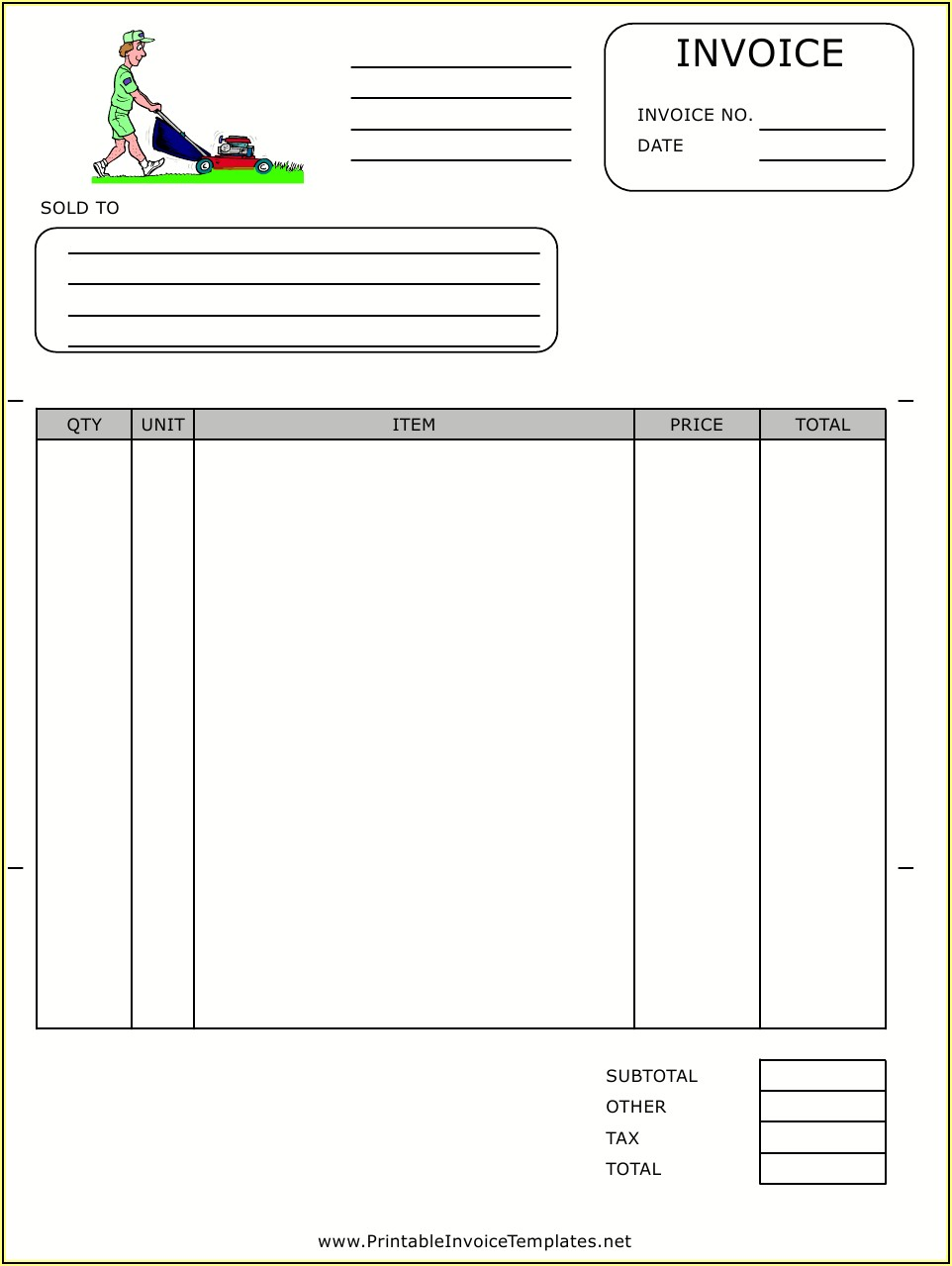 Printable Lawn Care Invoice Template