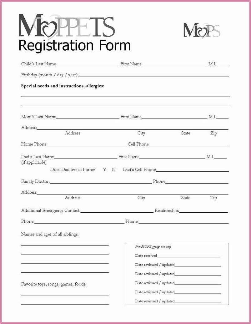 Printable Registration Forms