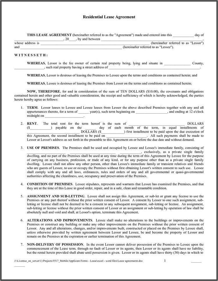 Printable Room Rental Agreement Template Word Doc