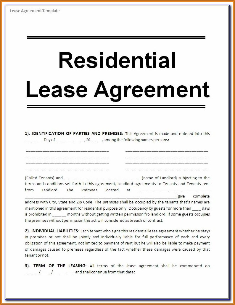 Printable Tenancy Agreement Template Uk