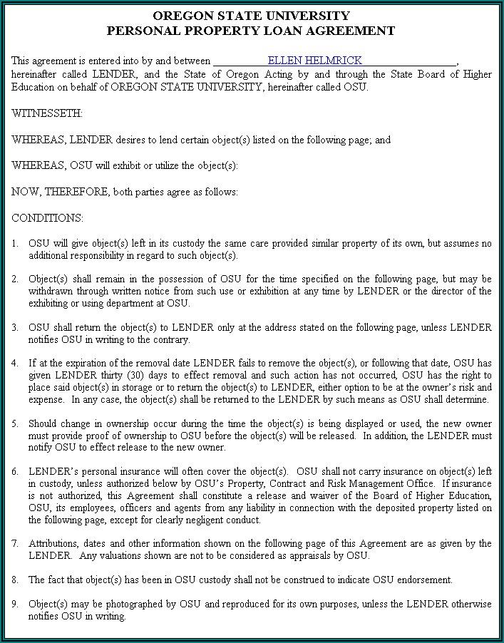 Private Loan Document Template