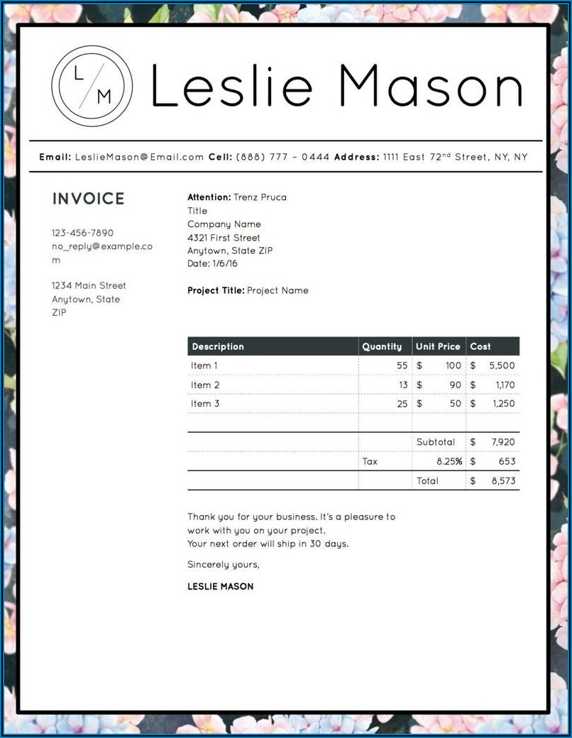 Professional Invoice Template Microsoft Word