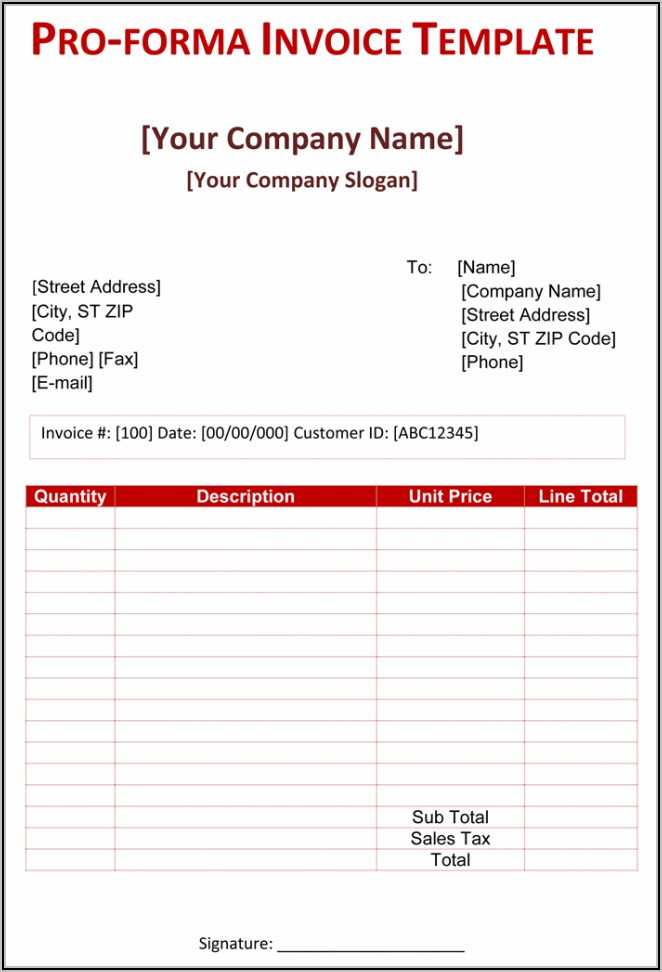 Proforma Invoice Format In Word Free Download