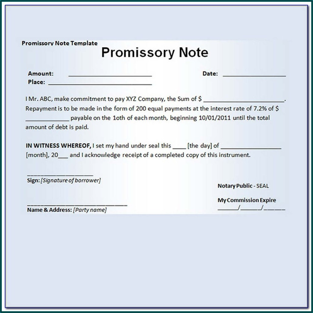 Promissory Agreement Template