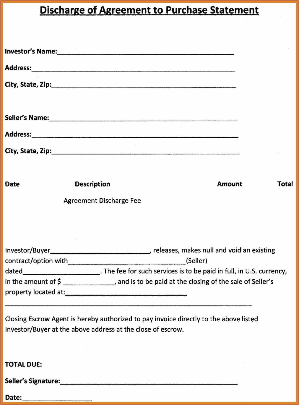 Purchase Contract Template Free