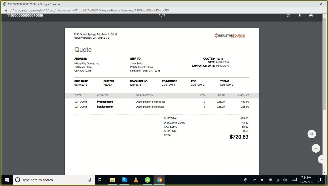 Quickbooks Customize Invoice Template