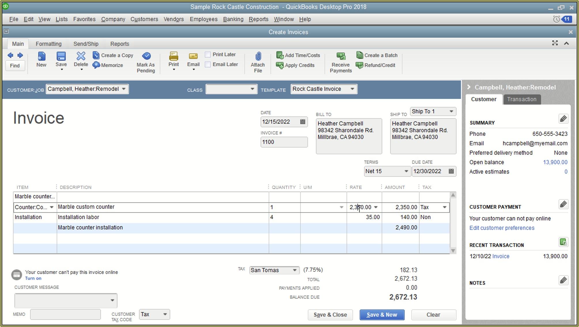 Quickbooks Edit Email Invoice Template