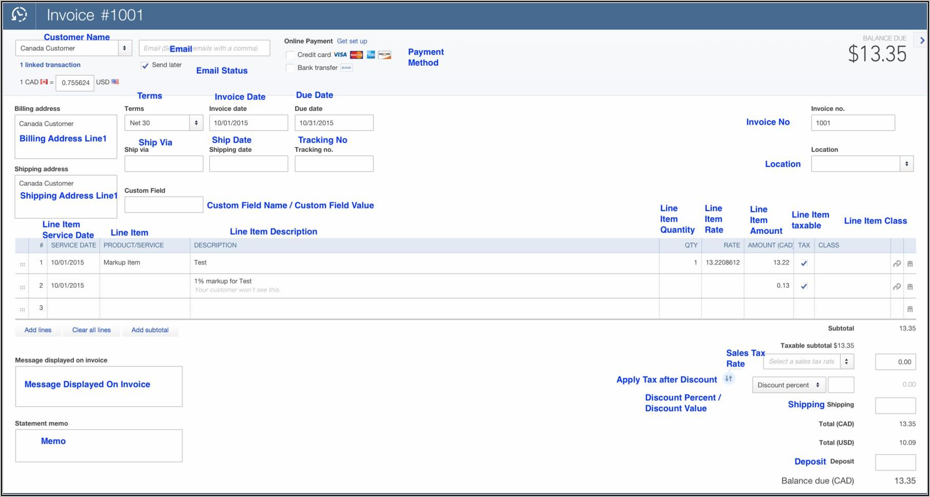 Quickbooks Online Upload Invoice Template
