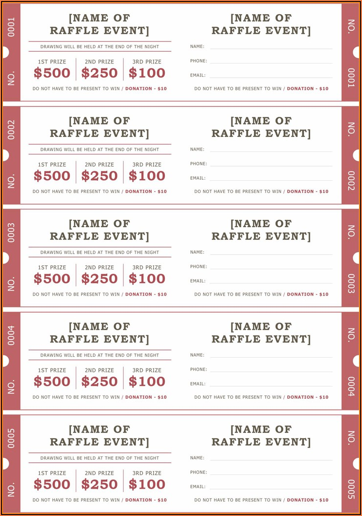 Raffle Ticket Template Pdf Free