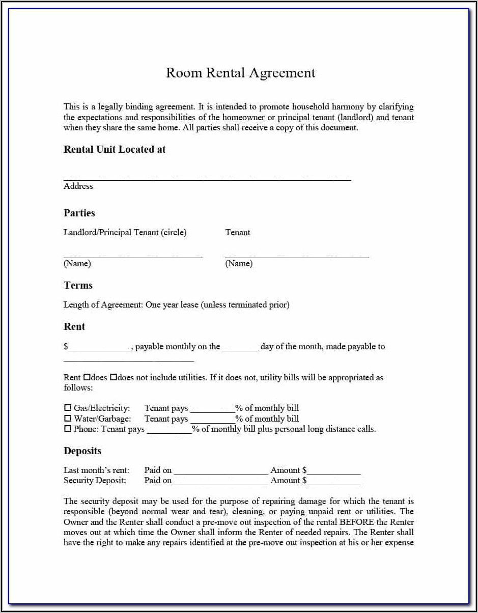 Rent Lease Form Free