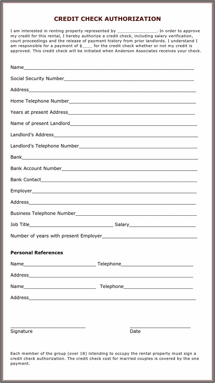 Rental Application And Credit Check Form