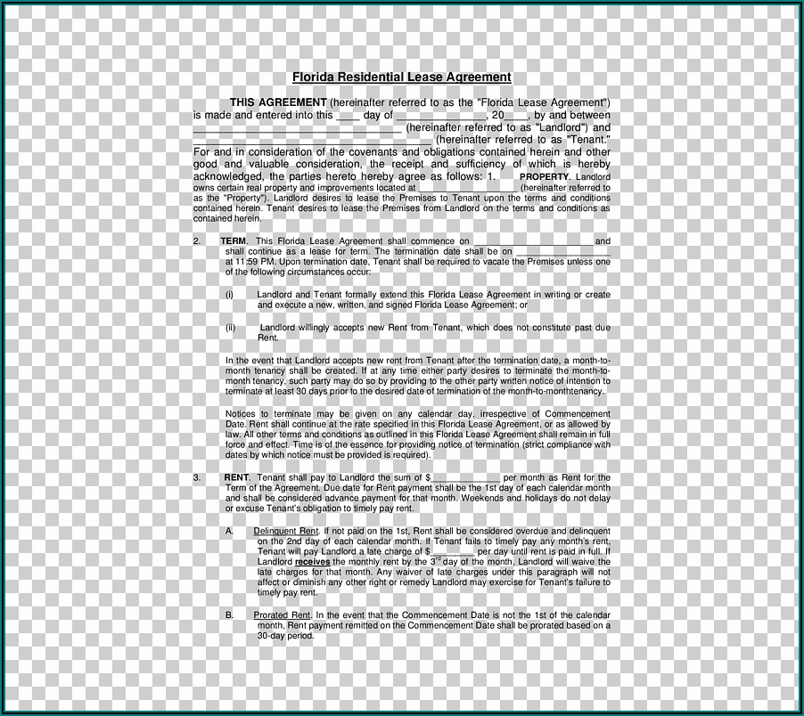 Rental Lease Agreement Contract Template