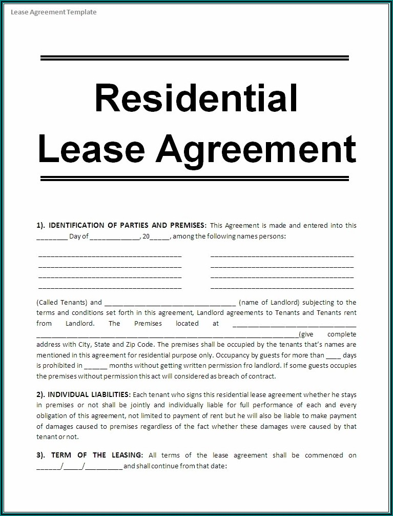 Rental Lease Agreement Template Microsoft Word