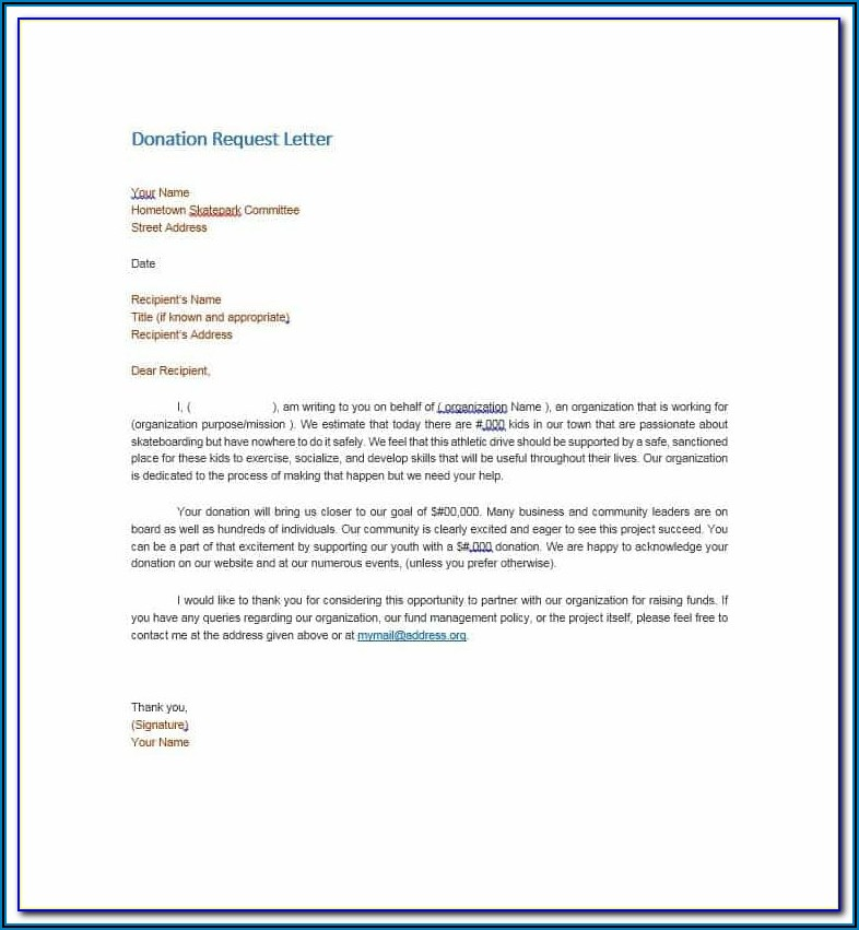 Request For Food Donations Letter Template