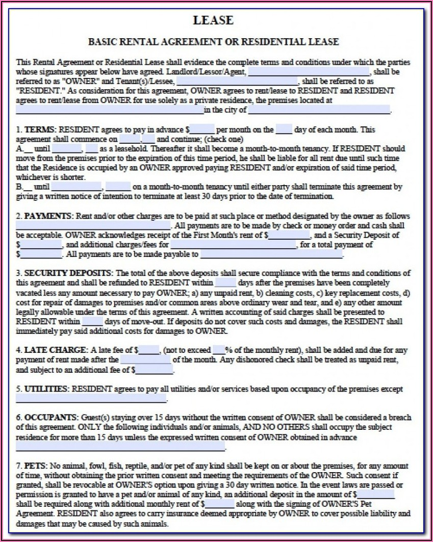 Residential Lease Extension Form Free