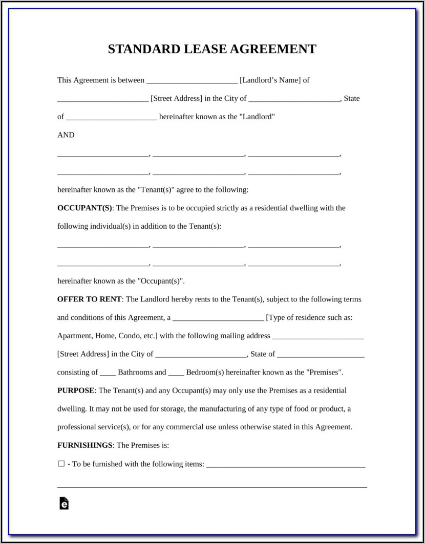 Residential Leaserental Agreement Form