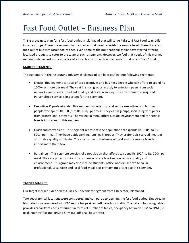 Restaurant Business Plan Template Word