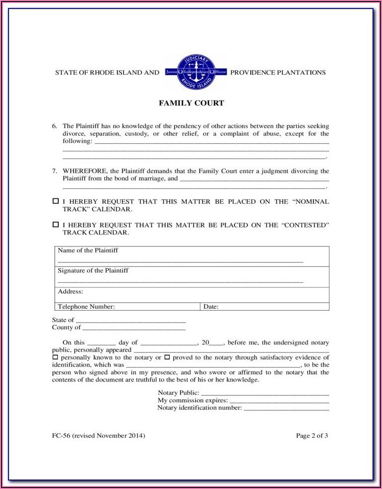 Ri Court Divorce Forms