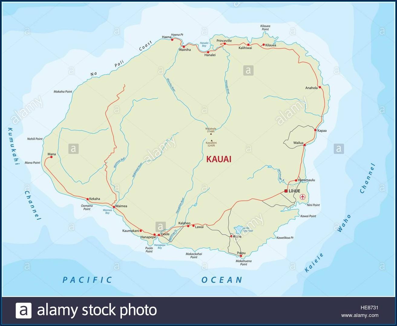 Road Map Of Kauai Hi