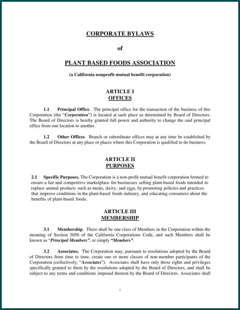 S Corp Bylaws Template California